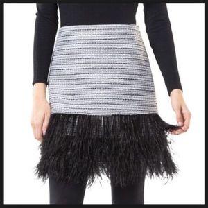 Sail to Sable Metallic Tweed Feathered Skirt